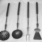 Iron cooking utensil set.