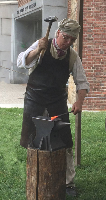 Demonstrating at the Fort Pitt Museum
